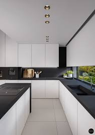 Black White And Grey Kitchen Room Wallper Countertops Cabinets Backsplash  Gloss Wood Light Gray Floor Yellow