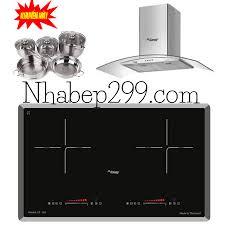 Combo 12: Bếp từ đôi Canzy CZ I62 + máy hút mùi kính cong CZ TB70 + Bộ