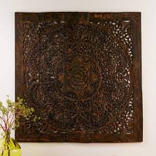 details about 59 large carved queen bed headboard lotus teak wood carving wall panel art 5ft