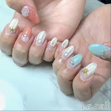 春夏変形フレンチシェル Lanailのネイルデザインno3260156