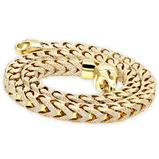 real diamond hip hop jewelry solid 10k gold iced out franco chain for men yellow image