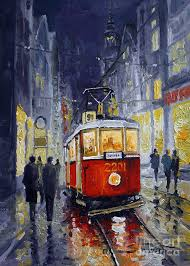 oil painting prague old tram 06 by yuriy shevchuk