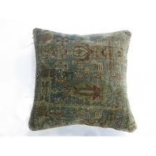 gray blue kashan mohtasham rug pillow
