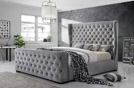 Winston Bed Button Tufted Grey Velvet