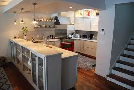this tighter view of the kitchen remodel shows the walnut sr treads