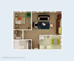 Modern One Bedroom House Plans Good 3d Building Scheme And Floor Plans Ideas For House And Office