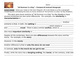 all summer in a day compare contrast story to movie paragraph  all summer in a day compare contrast story to movie paragraph