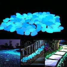 com unime glow in the dark garden pebbles stones for yard and walkways decor diy decorative luminous stones in blue 100 pcs garden outdoor