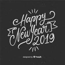 Happy New Year 2019 Black And White Background With Fancy Lettering