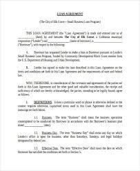 Free Loan Agreement Sample Loan Contract Loan Contract Printable Sample Personal Loan 100