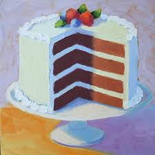 layer cake drawing. cakes painting - chocolate layer cake by pat doherty drawing