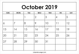 2019 October Calendar Printable Monthly Calendar 2019 October Calendar For October 2019