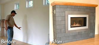 replace gas fireplace with wood burning stove before after photos converting gas fireplace to wood burning