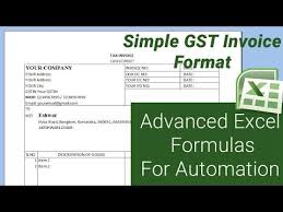 Ms Excel Invoice Simple Gst Invoice Format With Advanced Excel Formulas For Automation Microsoft Excel Tutorial