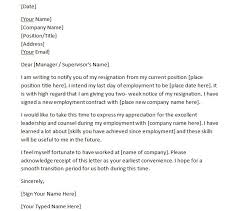 Writing Two Weeks Notice 40 Two Weeks Notice Letters Resignation Letter Templates