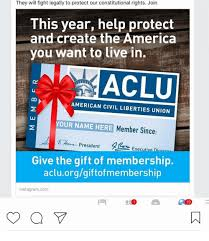 memes the gift and aclu they will fight legally to protect our consutional