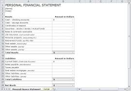personnal financial statement personal financial statement worksheet template yet designbusiness