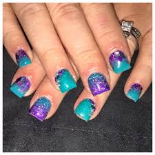 Purple And Teal Nail Designs Teal And Purple Glitter Nails Nails In 2019 Teal Nails