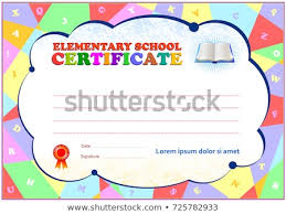 Elementary School Certificate Template Polygonal Design Stock Vector