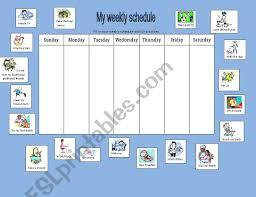 My Weekly Schedule My Weekly Schedule Simple Present Esl Worksheet By Sole_rom