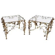 hollywood regency gold and glass side tables 1950s usa for