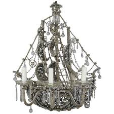 unique french crystal beaded ship chandelier circa 1930s for