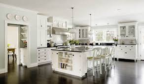 outstanding traditional white kitchen ideas with white wooden kitchen island and black granite countertop