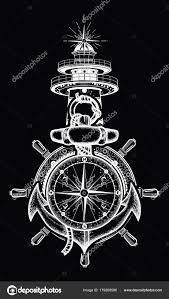 якорь рулевое колесо компас маяк тату искусства векторное