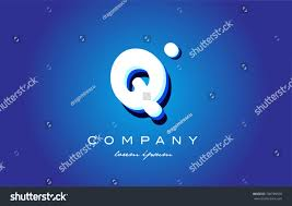 Q 3d letters blue white logo vector creative company icon design template  modern white