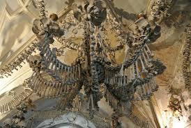 this spectacular chandelier above which hovers over the chapel is said to consist of every bone in the human