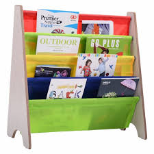 goplus kids book shelf sling storage rack colorful wooden organizer children bookcase display holder natural new