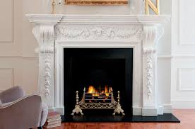 Wood burning fireplace traditional open hearth built in.