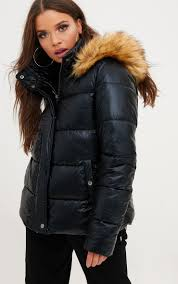 black foil puffer jacket with faux fur hood coats jackets prettylittlething usa