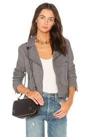 june stonewash vintage moto leather jacket in denim grey