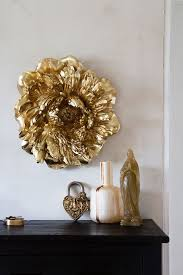 gold peony rose wall art decoration