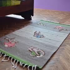 handwoven wool rug area rug floor rug kilim rug home decor rug rabbits wool rug stylish wool rug