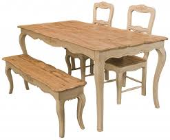 french style antique farmhouse kitchen table with 2 chairs and bench seat with oak wooden top and white wooden base ideas