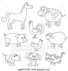 cute cartoon farm s and birds for coloring book outline vector with adjule stroke black and white version