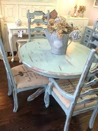 distressed white round dining table pale blue shabby and chairs modern farmhouse style in chic furniture