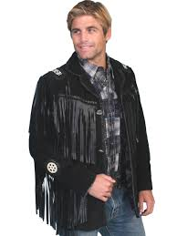 scully mens black boar suede native fringe western jacket