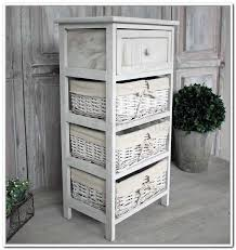 Bookcase with Wicker Baskets Image