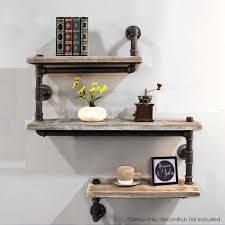 industrial pipe rustic modern wood bookshelf wall shelf