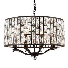 belle dark bronze and clear crystal glass 8 light pendant