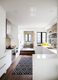 view in gallery black and white kilim rug in a modern kitchen