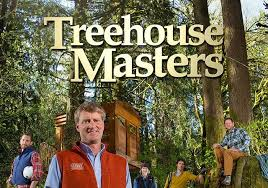 Treehouse Masters Cast posing with treehouse in forest