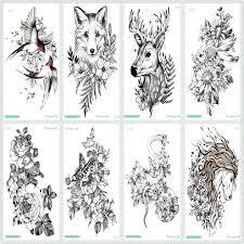 купить оптом Rocooart черный эскиз татуировки наклейка лошадь тати волк птица змея