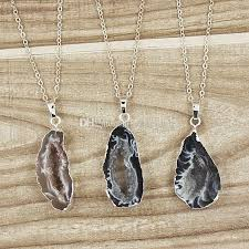 whole natural agate druzy pendant quartz druzy agate geode slice pendants with silver plated edges sd05 heart pendants necklaces silver necklaces from