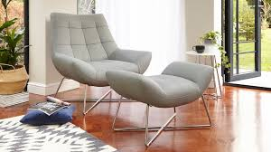 modern leather armchair and footstool