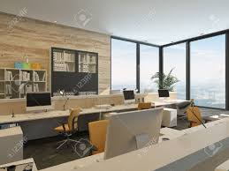 modern minimalist office. Modern Minimalist Office With Work Stations And Large Windows In High Rise Building Stock Photo -