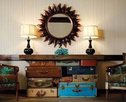 vintage furniture ideas. Diy Vintage Home Decor With Old Suitcase Bags As Accent Table Bottom And Artistic Wall Mirror Frame Furniture Ideas U